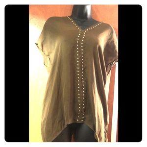 Michael Kors Olive Green top w gold embellishment
